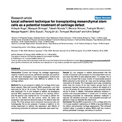 Local adherent technique for transplanting mesenchymal stem cells as a potential treatment of cartilage defect